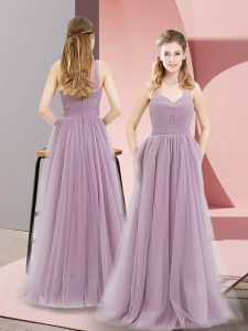 Halter Top Sleeveless Prom Evening Gown Floor Length Ruching Lilac Tulle