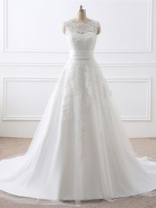 Trendy White Wedding Dresses Tulle Brush Train Sleeveless Lace