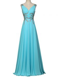 Aqua Blue Empire Chiffon V-neck Sleeveless Beading and Ruching Floor Length Zipper Evening Party Dresses