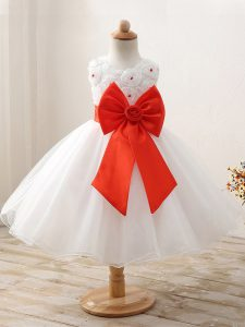 Organza Sleeveless Mini Length Little Girl Pageant Gowns and Bowknot