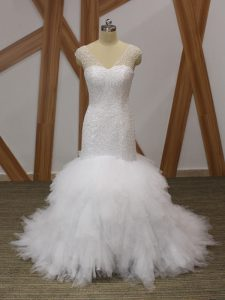 Suitable Tulle V-neck Sleeveless Brush Train Lace Up Beading and Ruffles Wedding Dresses in White