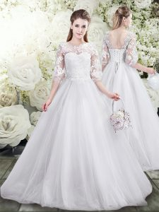White Scoop Lace Up Lace Wedding Gown Half Sleeves