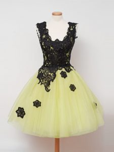 Designer Ball Gowns Dama Dress Yellow Straps Tulle Sleeveless Knee Length Zipper