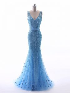 Unique Floor Length Mermaid Sleeveless Baby Blue Evening Gowns Zipper