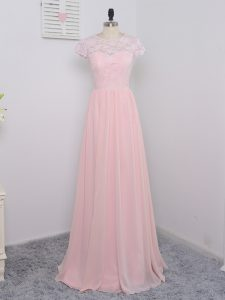 Floor Length Baby Pink Quinceanera Court Dresses Chiffon Cap Sleeves Lace