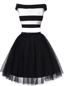Nice White And Black Sleeveless Ruching Mini Length Homecoming Dress Online