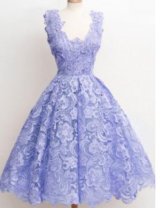 Lavender Lace Zipper Wedding Party Dress Sleeveless Knee Length Lace