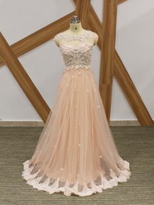 Attractive Champagne Empire Tulle Scoop Sleeveless Beading and Lace and Appliques Floor Length Zipper Evening Dresses