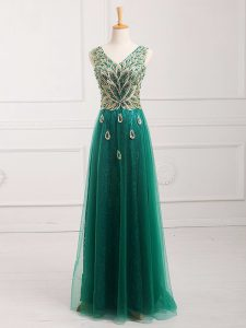 Sophisticated Lace Dress for Prom Dark Green Zipper Sleeveless Floor Length