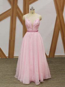 Deluxe Baby Pink Zipper Prom Dress Beading and Embroidery Sleeveless Floor Length