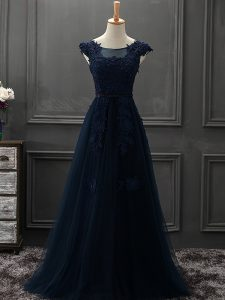 Fabulous Floor Length Navy Blue Prom Party Dress Tulle Sleeveless Appliques