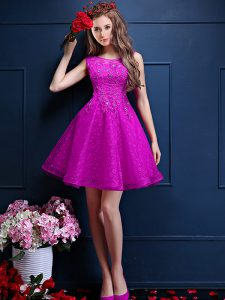Fuchsia Lace Up Wedding Party Dress Beading and Lace Sleeveless Knee Length
