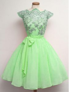 Scalloped Cap Sleeves Chiffon Quinceanera Court Dresses Lace and Belt Lace Up