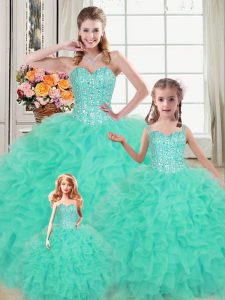 Hot Selling Turquoise Sweetheart Lace Up Beading and Ruffles Ball Gown Prom Dress Sleeveless