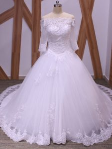 Eye-catching White Backless Wedding Gown Lace Half Sleeves Brush Train