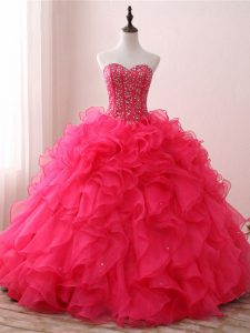 Latest Organza Sleeveless Floor Length Ball Gown Prom Dress and Beading and Ruffles