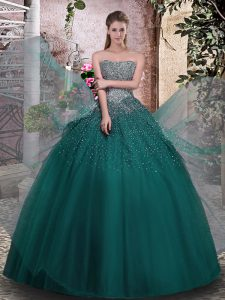 Decent Tulle Strapless Sleeveless Lace Up Beading Quinceanera Dresses in Dark Green