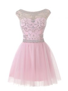 Baby Pink Sleeveless Tulle Zipper Junior Homecoming Dress for Prom and Party and Sweet 16