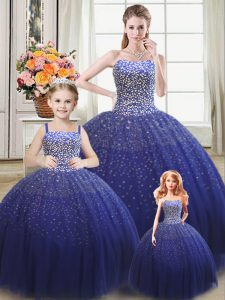 Royal Blue Lace Up Sweet 16 Dress Beading Sleeveless Floor Length