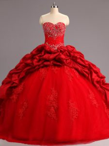 Red Quince Ball Gowns Sweetheart Sleeveless Court Train Lace Up