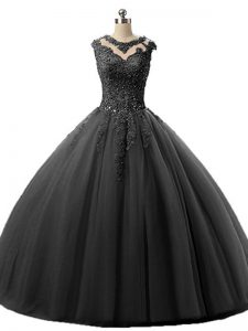 Pretty Scoop Sleeveless Ball Gown Prom Dress Floor Length Beading and Lace Black Tulle