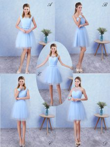 High End Blue A-line Scoop Sleeveless Tulle Knee Length Lace Up Ruching Dama Dress for Quinceanera