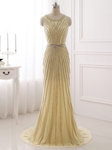 Champagne Sleeveless Brush Train Beading and Belt Evening Dresses