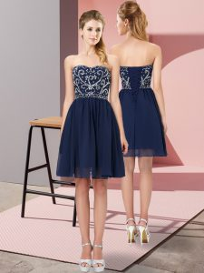 Navy Blue Lace Up Prom Party Dress Beading Sleeveless Mini Length