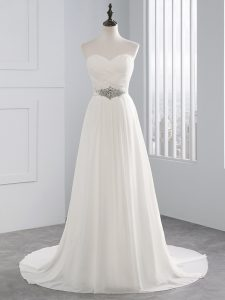 Trendy White Sleeveless Brush Train Beading and Ruching Wedding Dresses