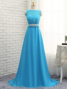 Baby Blue Zipper Bateau Beading and Lace Wedding Party Dress Chiffon Sleeveless Brush Train