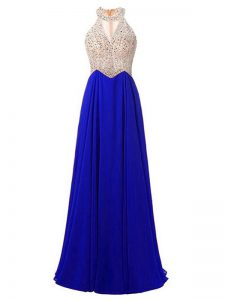 Customized Royal Blue Zipper Evening Dress Beading Sleeveless Floor Length