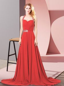 Gorgeous Halter Top Sleeveless Prom Dresses Brush Train Beading and Ruching Red Chiffon