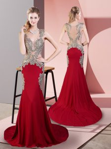 Wine Red Prom Gown Prom and Party with Beading V-neck Sleeveless Brush Train Side Zipper