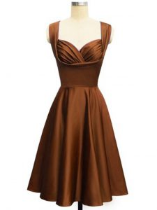 Perfect Chocolate Sleeveless Taffeta Lace Up Wedding Guest Dresses for Prom and Party and Wedding Party