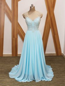 Aqua Blue Runway Inspired Dress Prom and Party and Beach with Beading and Ruching V-neck Short Sleeves Brush Train Side Zipper