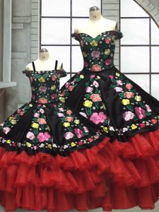 Elegant Floor Length Red And Black Quince Ball Gowns Off The Shoulder Sleeveless Lace Up