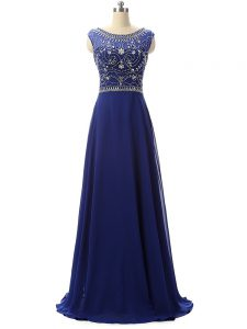 Perfect Beading Prom Gown Royal Blue Zipper Sleeveless Floor Length