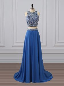 Two Pieces Evening Dress Blue Scoop Chiffon Sleeveless Floor Length Zipper