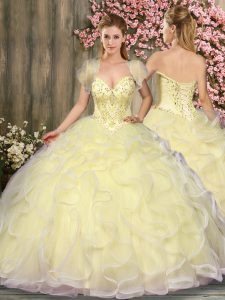 Simple Tulle Sweetheart Sleeveless Lace Up Beading and Ruffles Sweet 16 Dresses in Light Yellow