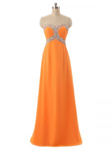 Attractive Floor Length Lace Up Oscars Dresses Orange for Prom and Military Ball and Beach with Beading and Ruching