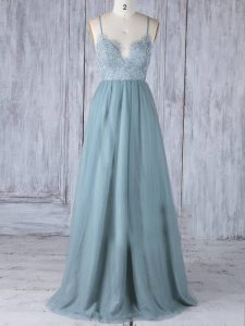 Super Grey Tulle Zipper Quinceanera Court of Honor Dress Sleeveless Floor Length Lace