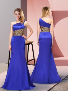 Floor Length Side Zipper Celebrity Style Dress Royal Blue for Prom and Party with Pattern