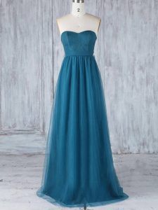 Excellent Teal Sleeveless Tulle Side Zipper Quinceanera Dama Dress for Prom and Party and Wedding Party