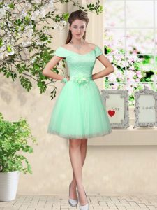 Tulle Cap Sleeves Knee Length Wedding Party Dress and Belt