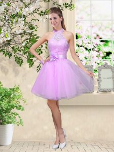 Lavender A-line Halter Top Sleeveless Tulle Knee Length Lace Up Lace and Belt Quinceanera Court Dresses