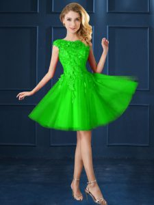 Colorful Tulle Lace Up Quinceanera Court Dresses Cap Sleeves Knee Length Lace and Belt