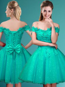Cap Sleeves Knee Length Lace and Belt Lace Up Quinceanera Court Dresses with Turquoise