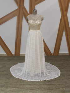 White Empire Lace V-neck Sleeveless Beading and Lace Side Zipper Wedding Gowns Brush Train