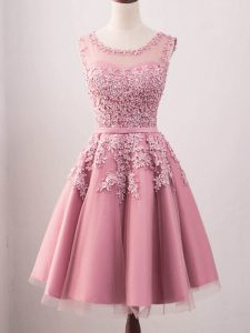 New Arrival Pink A-line Tulle Scoop Sleeveless Lace Knee Length Lace Up Damas Dress