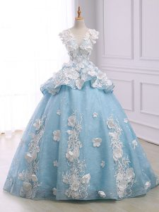 Lace Up Quinceanera Gowns Light Blue for Military Ball and Sweet 16 and Quinceanera with Appliques Court Train